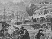 Quakers embrassant des Indiens en Pennsylvanie.
