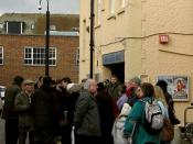 A flash mob, or 30-minute crowd-gathering, created as a Media event outside Westgate Hall, Canterbury, Kent by the Westgate Hall Salsa pressure group at 1.00pm on 13 February 2010. The event was supported by the