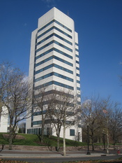 Headquarters of the Johnson & Johnson Company, One Johnson & Johnson Plaza, New Brunswick, New Jersey, USA. Architect: Henry N. Cobb of the I. M. Pei Company, built 1983.