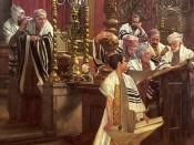 Deutsch: Gemälde (Öl auf Leinwand) von Oscar Rex. Darstellung einer Bar Mitzwa in einer Synagoge.