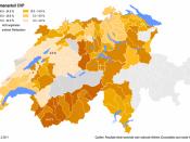English: Geographical overview on the votes share of the Christian Democratic People's Party of Switzerland in the districts. Deutsch: Geografische Übersicht über die Wahlanteile der Christlichdemokratischen Volkspartei in den Bezirken.