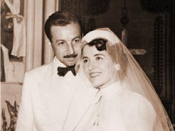 Emily and Husband Philip after their marriage ceremony in 1957