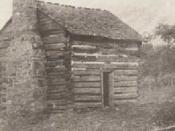 English: View of the log cabin near the New River belonging to William and Mary Draper Ingles. Cabin was located near the site of present-day Radford, Virginia. Mary Ingles Draper authored a narrative of her abduction and eventual escape from the Indians.