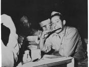 Soldier eating matzo, circa 1945