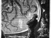 Engraving of Captain Nemo viewing a giant squid from a porthole of the Nautilus submarine, from 20000 Lieues Sous les Mers by Jules Verne.