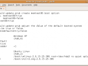 English: A screenshot of an example configuration file for GNU GRUB. This configuration file is used to load Windows XP and Ubuntu Linux.
