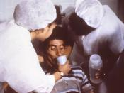 (From source) This cholera patient is drinking oral rehydration solution (ORS) in order to counteract his cholera-induced dehydration. The cholera patient should be encouraged to drink the Oral Rehydration Solution (ORS). Even patients who are vomiting ca