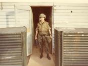 English: U.S. Army soldier wearing flak jacket, Vietnam, 1971