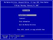 English: Sample screenshot of the Norton Utilities 4.0 opening screen, created using DOSBox.