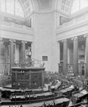 Low Library rotunda, Columbia University, New York City. Historic photograph taken before the library's conversion to an administration building.