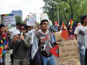 English: Protesters for gay marriage at the 2009 Marcha Gay in Mexico City