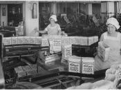 Kellogg Company. Women Inspecting Filled Boxes of Cereal Before Boxes Go to Sealer, 08/22/1934