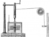 Engraving of Joule's apparatus for measuring the mechanical equivalent of heat.