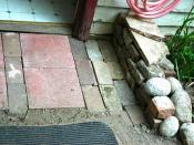 Detail: Inexpensive brick and pavers path entry, backdoor, total cost $4, Seattle, Washington, USA
