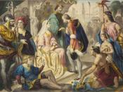 Christopher Columbus being greeted by King Ferdinand and Queen Isabella on his return to Spain.