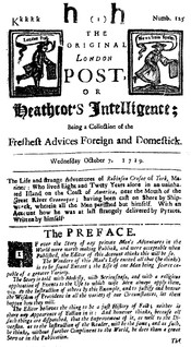 English: First Page of the newspaper edition of Heahtcot's Intelligence 1719