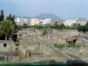 English: Ancient Herculaneum (foreground), modern Ercolano (center), and Vesuvius (horizon).