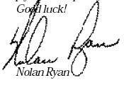 Nolan Ryan's signature.