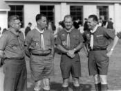 Joe St. Clair, Fran Peterson, Maury Tripp, and Béla H. Bánáthy at the White Stag Leadership Development Program Indaba held at Fort Ord, California, during November, 1962. These four men played instrumental roles in developing the experimental Wood Badge