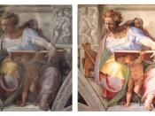 Sistine Chapel, the prophet Daniel before and after Restoration