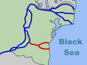 Danube (in blue) and the Canal (in red)