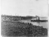 Victoria Bridge during the aftermath of the Brisbane floods, February 1896