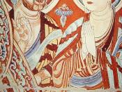 9th century fresco from the Bezeklik grottoes near Turfan, Tarim Basin, China. The person to the left is an European/Western Asian trader or monk (distinguishable by his red hair and full beard and face), to the right an East Asian buddhist monk.