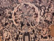 English: Chinese mural of a bodhisattva from Mogao Caves, Dunhuang, showing strong Central Asian influence, as well as the characteristics of Central Asian Mahayana Buddhism during this time.