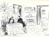 English: Illustration by Christian Krohg (1852–1925) of Henrik Ibsen's play Hedda Gabler as staged at Kristiania Theater. Norsk (bokmål): Henrik Ibsens skuespill Hedda Gabler spilt på Kristiania Theater i 1891. Tegning av Christian Krohg (1852–1925).