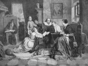 English: illustration of William Shakespeare reciting his play Hamlet to his family. His wife, Anne Hathaway, is sitting in the chair on the right; his son Hamnet is behind him on the left; his two daughters Susanna and Judith are on the right and left of