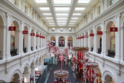 Melbourne old GPO postal hall converted to a shopping mall complex.