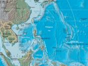 Mariana Islands at map-right, east of the Philippine Sea, and just west of the Mariana Trench in the ocean floor.
