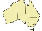Location of Darwin on Australian continent