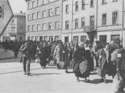 Jewish prisoners being deported from the Kraków Ghetto.