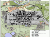 I.G. Farbens Buna-Werke industrial complex near Dwory, Poland. Diagram shows Monowitz and various subcamps.