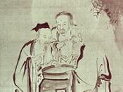 A traditional representation of The Vinegar Tasters, an allegorical image representing Buddhists, Confucianists, and Taoists