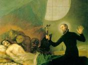 Painting of Father General Saint Francis Borgia, SJ performing an exorcism by Goya.