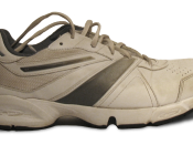 Photograph of a sport shoe. The logo have been removed.