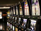 Row of slot machines inside Las Vegas airport.