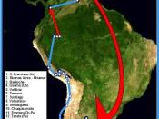 Map of the first voyage of Ernesto Guevara and Alberto Granado. 1952. Red arrows correspond to travel by airplane.