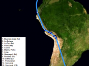 Map of the second journey of Ernesto Guevara. 1953-56