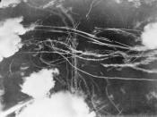 IWM caption : THE BATTLE OF BRITAIN 1940. Pattern of condensation trails left by British and German aircraft after a dogfight.
