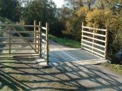 English: Stop! Who goes there? A newly installed cattle grid helps limit the movements of both farm and larger wild animals.