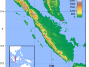 Topographic map of Sumatra. Created with GMT from publicly released SRTM data. For locator vesion, see Image:Sumatra Locator Topography.png