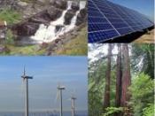 English: Illustration: Different types of renewable energy. Norsk (bokmål): Illustrasjon: Forskjellige typer fornybar energi.