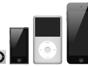 English: The iPod family with, from the left to the right : the shuffle 4G, the nano 6G, the classic 6G and the touch 4G Français : La famille des iPod, avec de la gauche vers la droite, l'iPod shuffle 4G, l'iPod nano 6G, l'iPod classic 6G et l'iPod touch