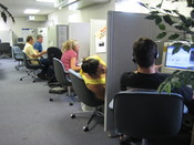 English: CO: AFT union members phone bank for Labor 2008