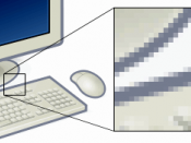 Example of pixels. Shows a zoomed section of an image to demonstrate how it is made up of pixels.