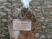 Saint-Pons-de-Thomières (Hérault) - monument à Charles Barthes, résistant, fusillé en 1944.
