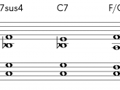 One possible interpretation of a quartal chord: Fourth suspension, resolving to Dominant Seventh and Tonic 6/4 chord About this sound Play ( help · info )